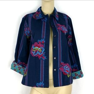 HEARTS OF PALM Embroidered lined Floral Jacket 8